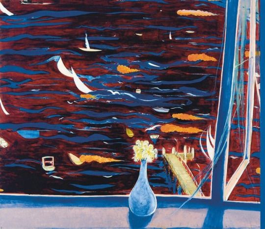 Brett Whiteley (Australian, 1939-1992), Westerly with Daisies (View of Lavender Bay), 1974. Oil on composition board, 106 x 122 cm