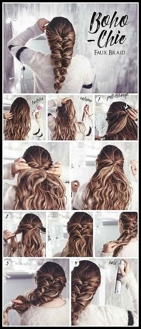 Haartutorial: Bohemian Chic Faux Braid #SimpleBraidedHairstyles - Haare + Frisuren