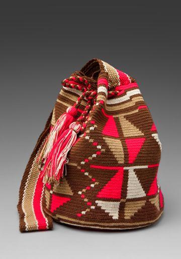 WAYUU TAYA Susu Bag in Brown/Fuchsia/Light Beige