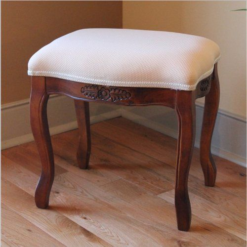 "Vanity Cushion Stool (Cherry Stain) (18""H x 18""W x 14""D)"