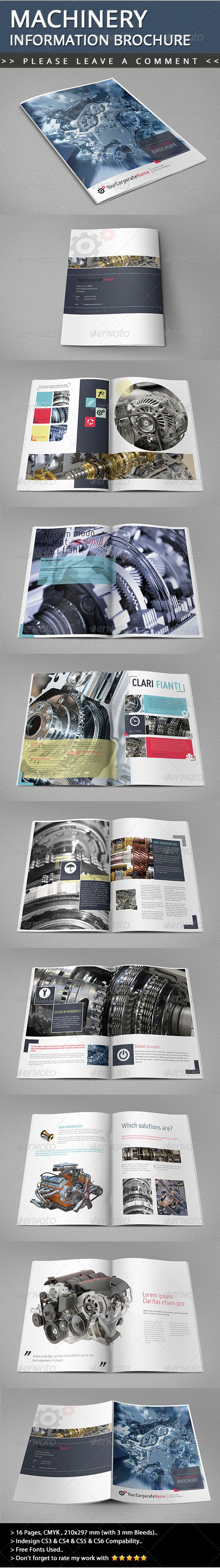 Machinery Information Brochure  #GraphicRiver        Description New style , clean and cool Machinery Information Brochure Template for all designers and all companies that need this style.. Summary 16 pages  210×297 mm with 3mm bleed  300 dpi  CMYK  CS3 & CS4 & CS5 & CS6 CompabilityFiles Included InDesign CS3,CS4,CS5 and CS6 files ;