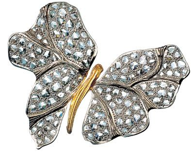 Liana Fanourakis butterfly brooch, rose-cut diamonds and K18 gold
