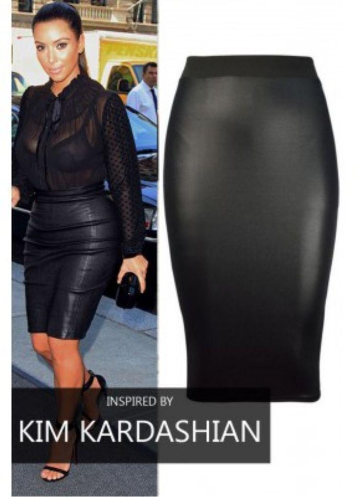 Leatherette Midi Skirt
