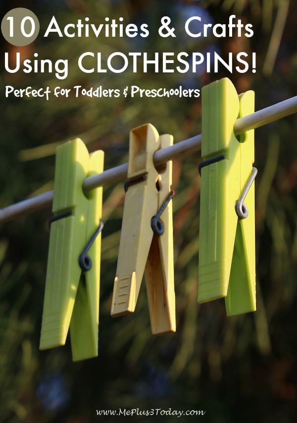10 Activities and Crafts Using Clothespins - Love these ideas! Perfect for Toddlers & Preschoolers!