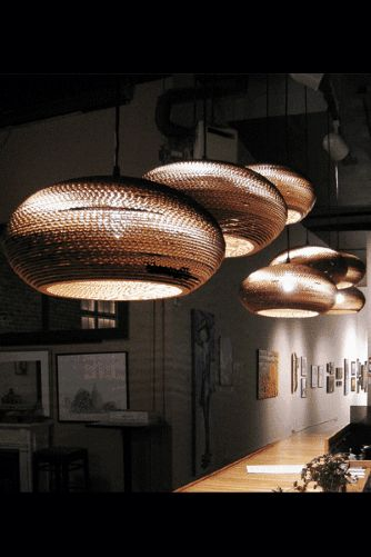GrayPants Disc Ceiling Lights 16 - Handmade From Recycled Cardboard Boxes