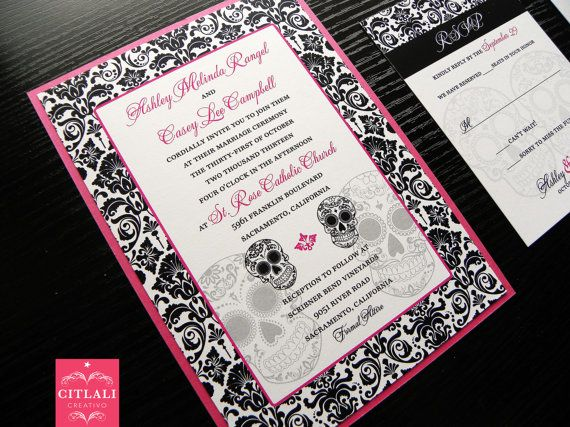 Day Of The Dead Wedding Invitations Sugar Skull Damask Set In Hot Pink,  Black And White Wedding Invitation Set By Citlali   Citlali Creativo    Custom ...