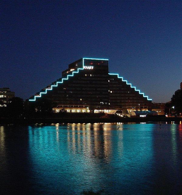 Cambridge Hyatt Hotel at night