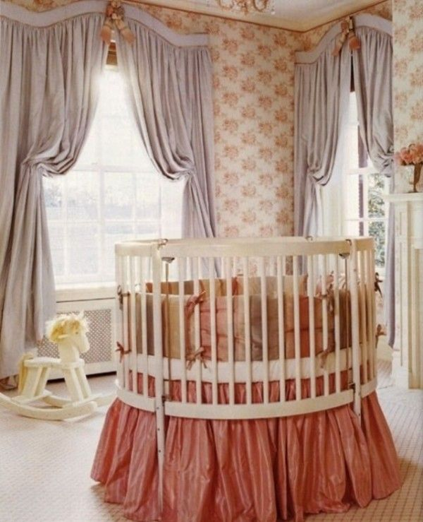 Opulent, old world... Adorable nursery idea. Really love the round cribs. They look so elegant