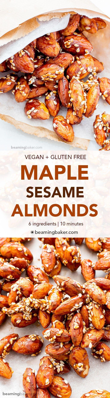 Maple Sesame Almonds (V+GF): An easy recipe for skillet-roasted maple sesame almonds made with just 6 ingredients. #Vegan #GlutenFree   http://BeamingBaker.com