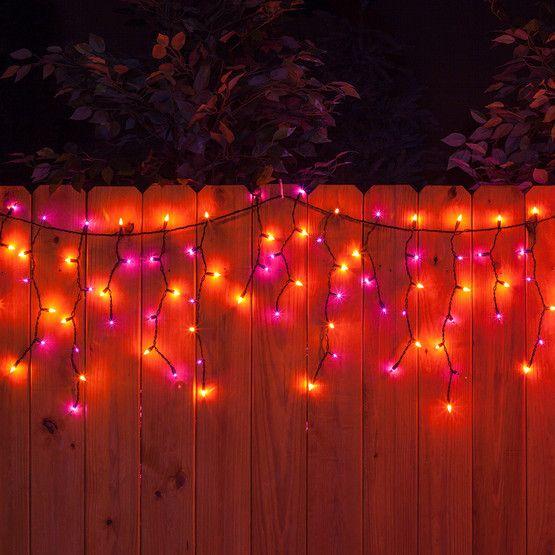 150 purple orange halloween icicle lights black wire - Halloween Lights
