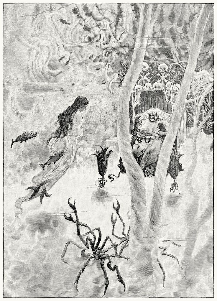 There the sea-witch was sitting.  Hans Tegner, from Andersenovy pohádky (Andersen's Fairy Tales) vol. 3, by Hans Christian Andersen, P...