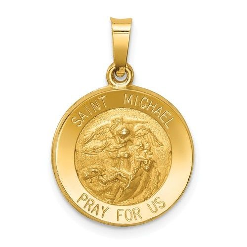 Michael Medal Pendant XR1362 14K Yellow Gold Polished /& Satin St
