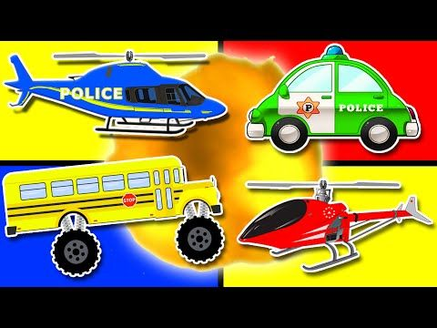 3 teach colours for kids baby toddler with police car
