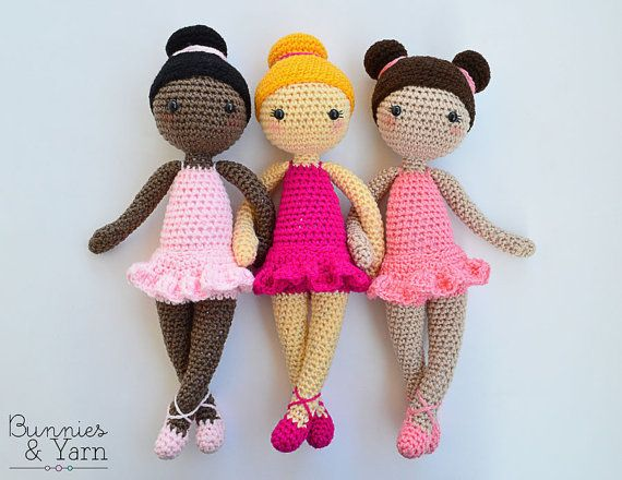 CROCHET PATTERN - Tracey the Ballerina Doll - Amigurumi Doll - 12 in./30 cm. tall - Crochet Toy - Instant PDF Download
