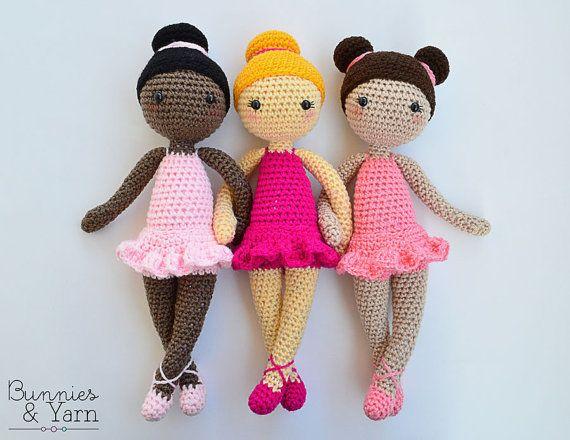 Patrón de Crochet - Tracey La Muñeca Bailarina de Ballet - Amigurumi 30 cm./12 in. de alto - Juguete Ganchillo - Descarga Instantánea en PDF