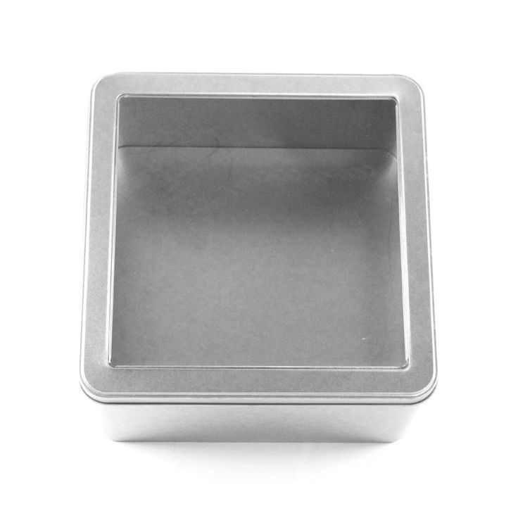 large square window tin container for food