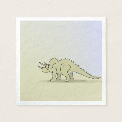 Triceratops Dino - Stone Age Theme VZS2 Napkin - animal gift ideas animals and pets diy customize