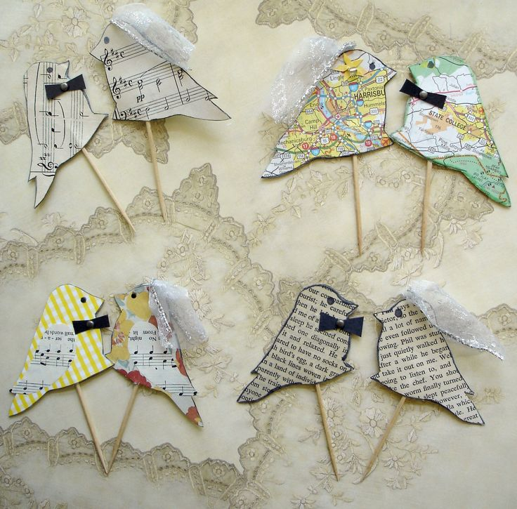 Ready to Ship Eco friendly wedding cake topper, recycled book paper, love birds,. $25.00, via Etsy.