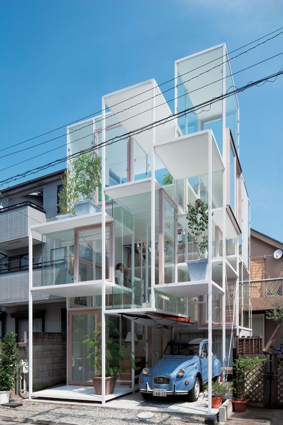House NA by Sou Fujimoto (2010)  Sou Fujimoto designed this multi-level home to recreate the experience of clambering up the branches of a tree. The steel and glass lattice encapsulates twenty-one small spaces at varying levels.