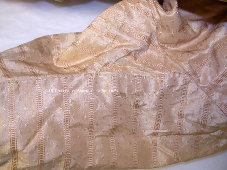 Showing the sleeve seam with godet at the armscye of gown c. 1770s.  Sumter County Museum, SC.