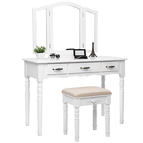 Delove Dressing Table With Stool Mirrors And Drawers Large Rustic Style Make Up Table White Bedroom Vanity Set Shabby Chic Vanity Table Vanity Table Set