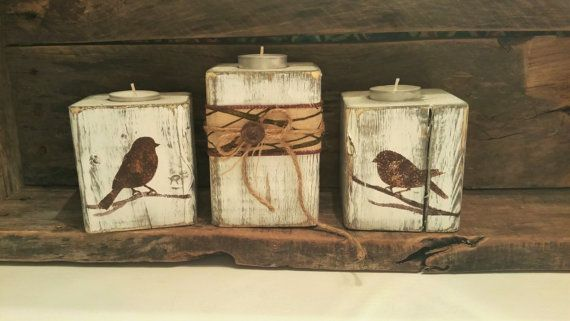 Wood sconces small birds and deer heads back by RusticAnick