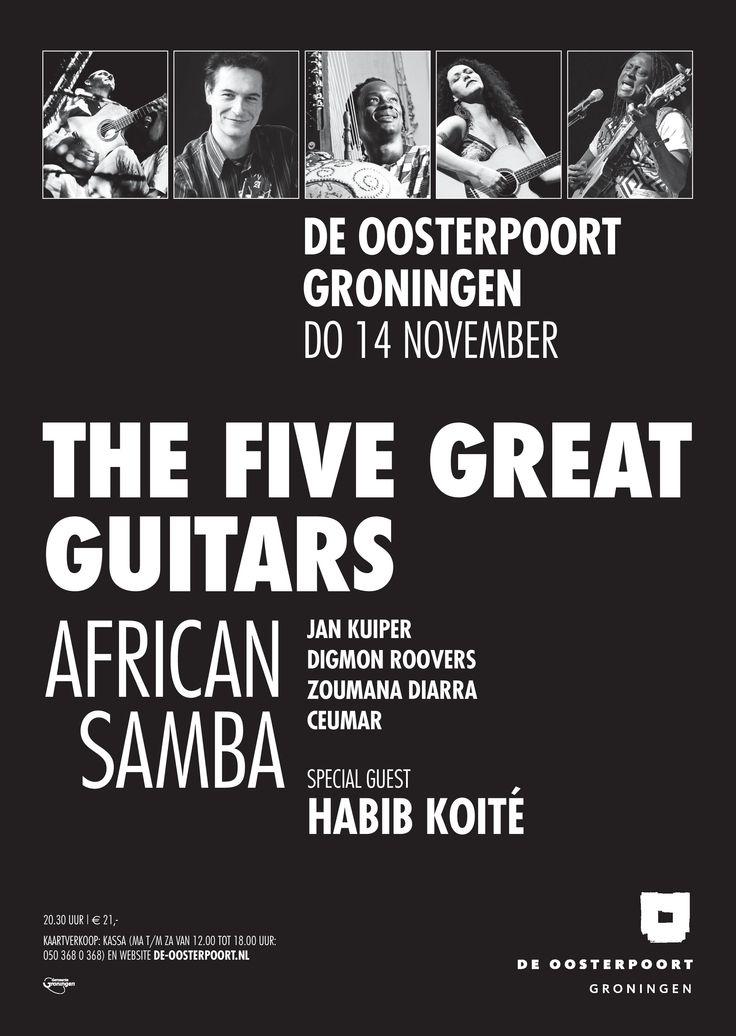Omdat in 2013 The Five Great Guitars tien jaar bestaan, wordt dit heugelijke feit gevierd met een fantastische line-up! Jan Kuiper, Digmon Roovers en Zoumana Diarra spelen samen met de Braziliaanse singer-songwriter Ceumar en een heel bijzondere Afrikaanse special guest: Habib Koité! Ook de twee Afrikaanse percussionisten Dramane Diarra en Moussé Pathé M'Baye zijn weer van de partij! Stoere Afrikaanse ritmes gaan in dit concert samen met de opwindende Zuid-Amerikaanse klanken van Ceumar.
