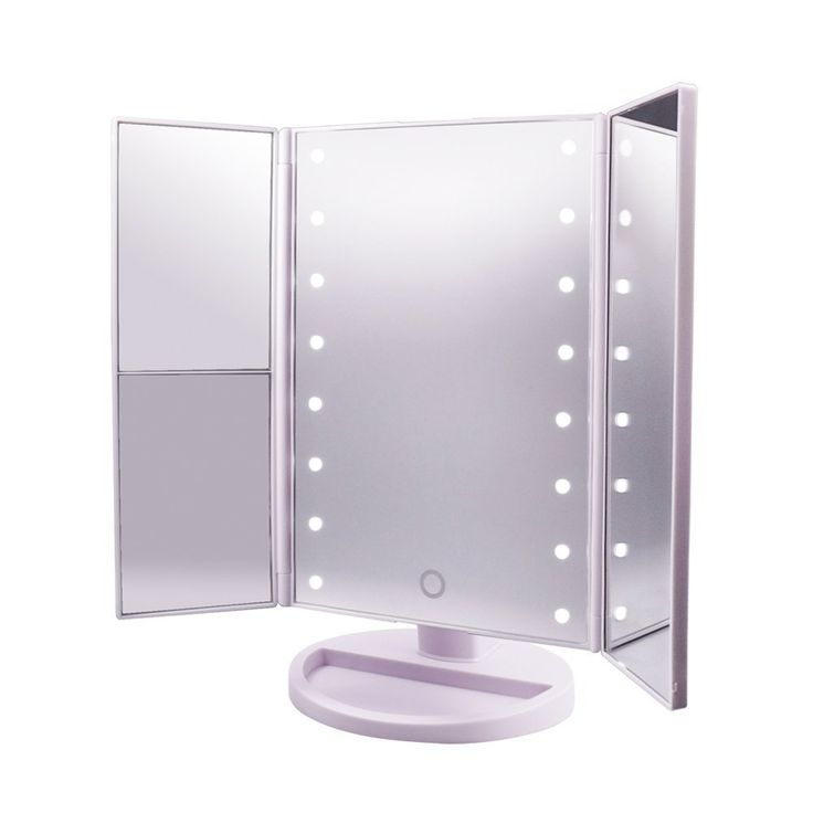 Amazon.com: Lighted Makeup Mirror,CarBoss Touch Screen 180 Degree LED Table Makeup Mirror -Three Panel 16pcs USB Rechargeable Led Light Tabletop Cosmetic Mirror with USB Cable,2X and 3X Magnification: Home Improvement