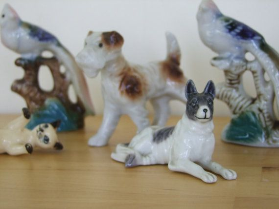 Vintage Animal Figurines - Set of 5 (Cat, Birds, Dogs) Instant China Collection