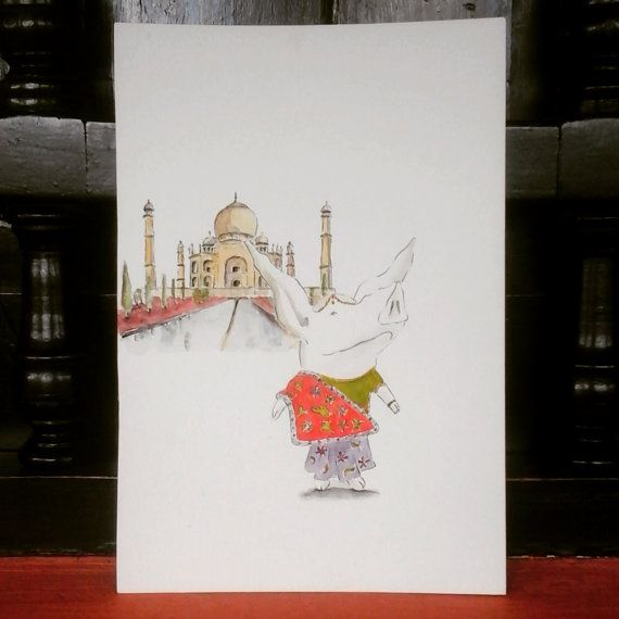 Olivia in India / Original in Watercolor / 9  6 by MAramburo