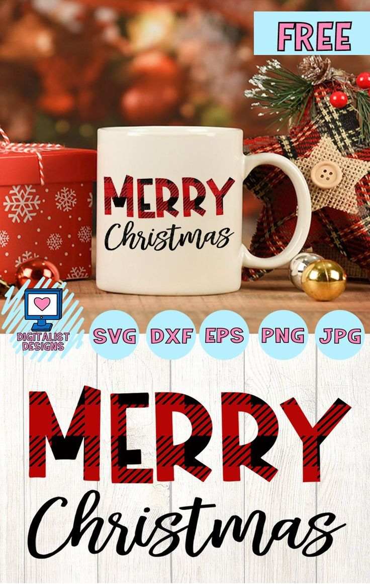 Free SVG file merry christmas svg buffalo plaid christmas