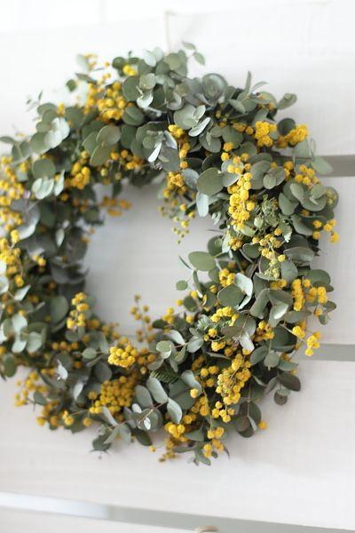 eucalypt & mimosa wreath: