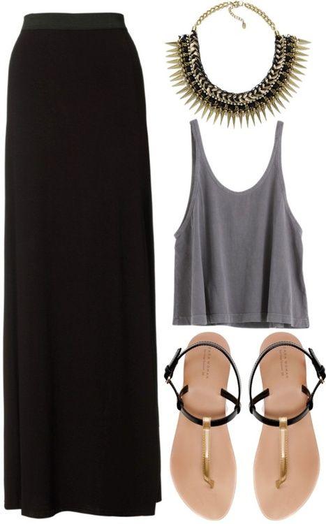 Maroon skirt, black crop top