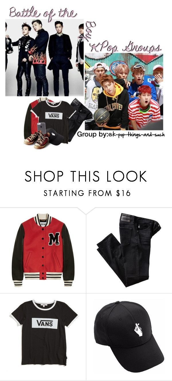 """""""Battle of the Kpop Boy Groups"""" by wintaeftw ❤ liked on Polyvore featuring Moschino, AG Adriano Goldschmied and Vans"""