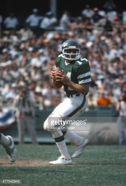 ... Richard Todd of the New York Jets drops back to pass against the Detroit Lions during ...