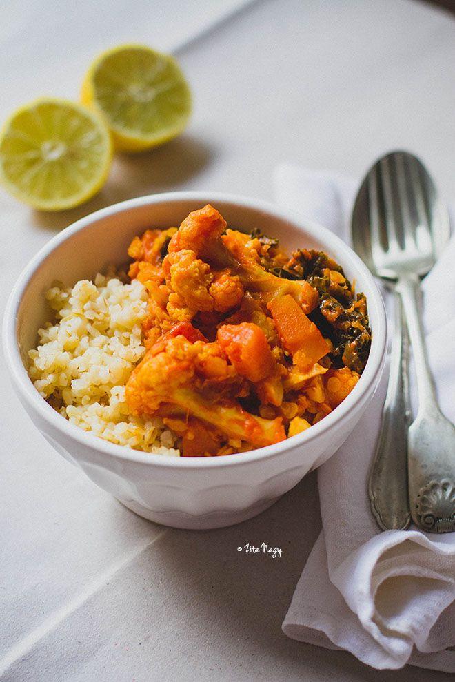 Karfiolos-sütőtökös vöröslencse curry