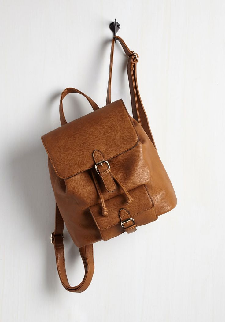 Course of Nature Backpack. With time to spare between classes, you take a quick spin through the campus park to show off this cognac brown backpack! #brown #modcloth