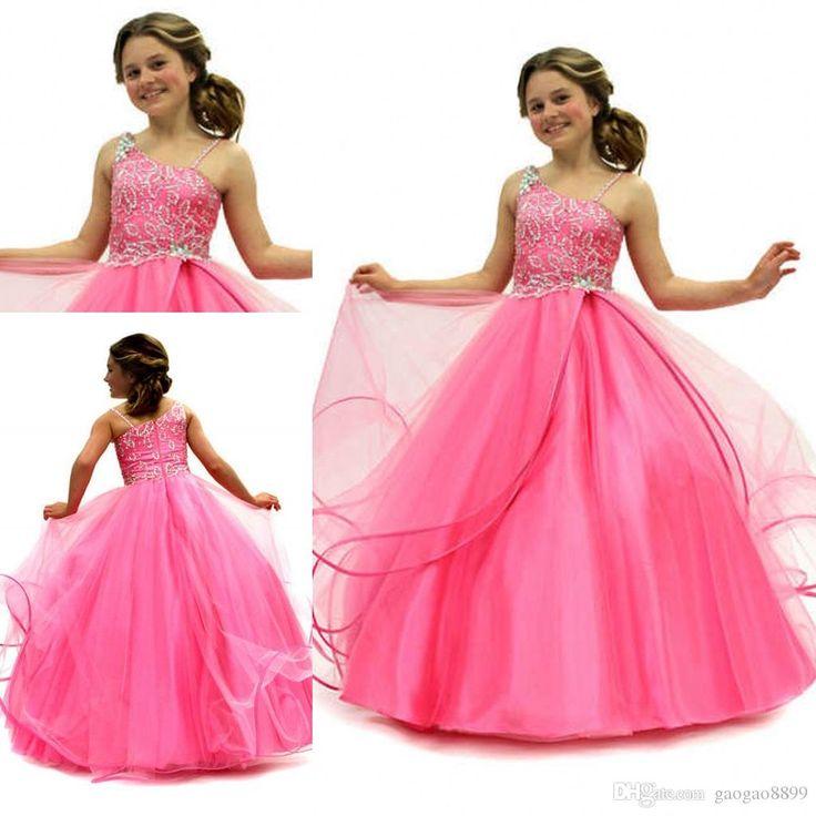 La Belleza Ostentación Desfile De Vestidos De Niña De Las Flores Una Línea Princesa De Las Perlas De Color Fucsia