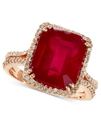 Rosa by EFFY 14k Rose Gold Emerald-Cut Ruby (7-5/8 ct. t.w.) and Diamond (1/2 ct. t.w.) Ring