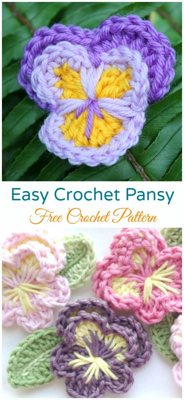 Crochet Pansy Flower Padrões Livres