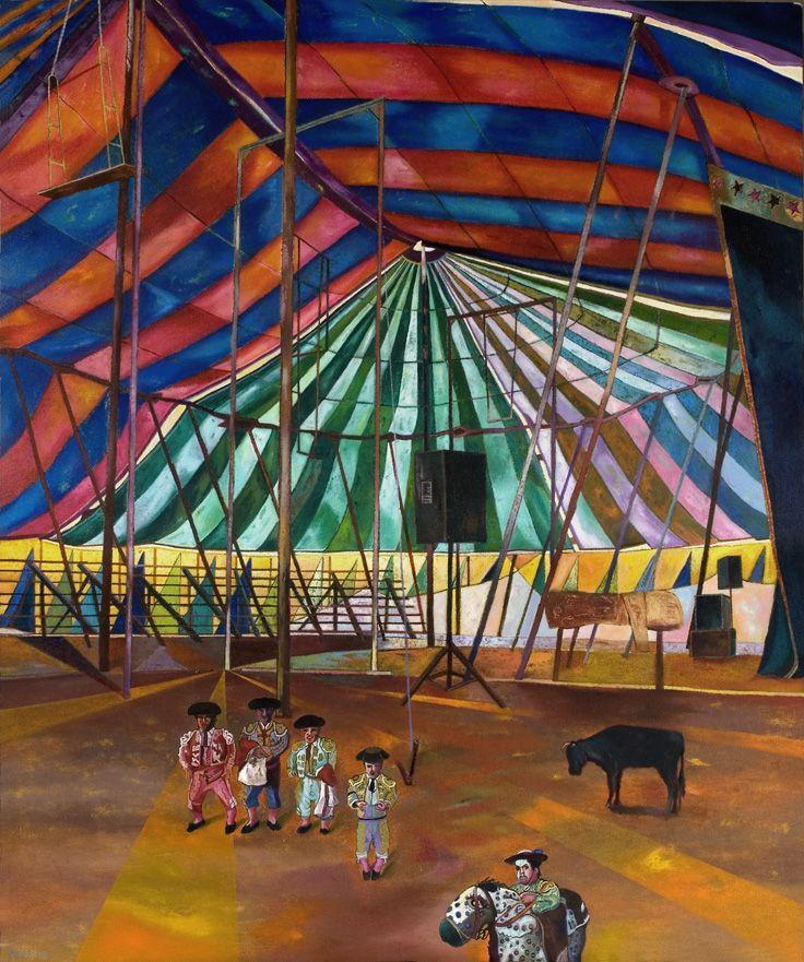 """Circo Bufo (Enrique Polanco, 2013). Pintura da exposição """"Obra reciente"""", vista na Sala Luis Miró Quesada Garland, em Lima."""