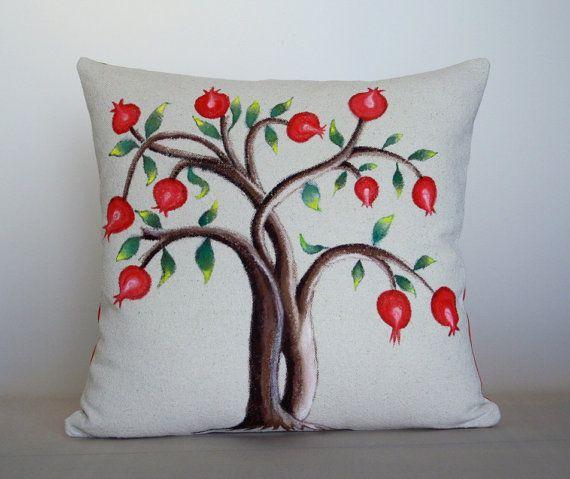 Hand Painted Decorative Pillow Tree Of Life With by aishamaisha, $45.00