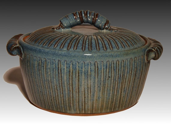 Stoneware Floating Blue Casserole by GwenFryarPottery on Etsy, $50.00