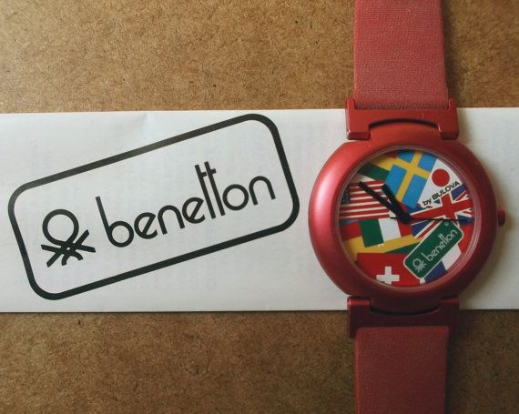 58e210ce8ee Benetton watch by Bulova   world flags   Times of the world collection    rare   united colors of benetton   vintage