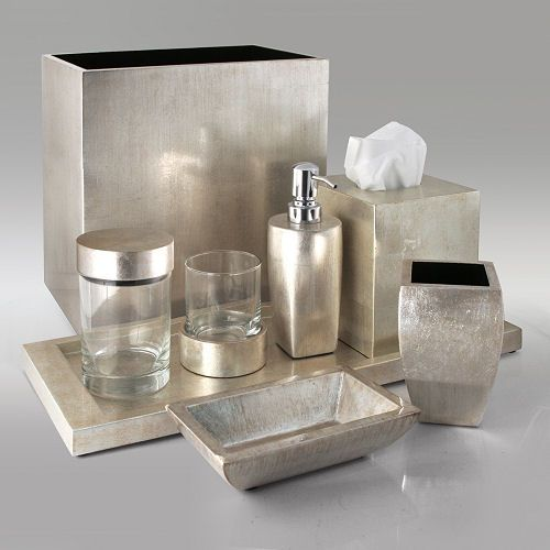 Gail deloach bath accessories gail deloach lacquer for Silver bathroom set