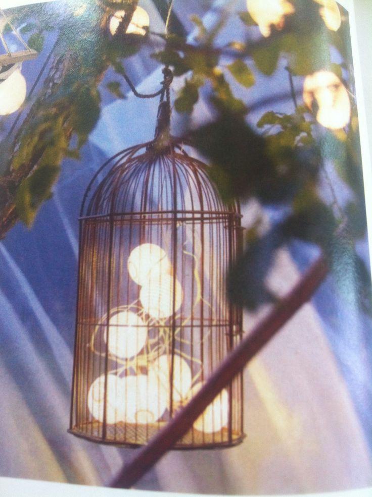 Solljus-driven belysning i fågelbur.