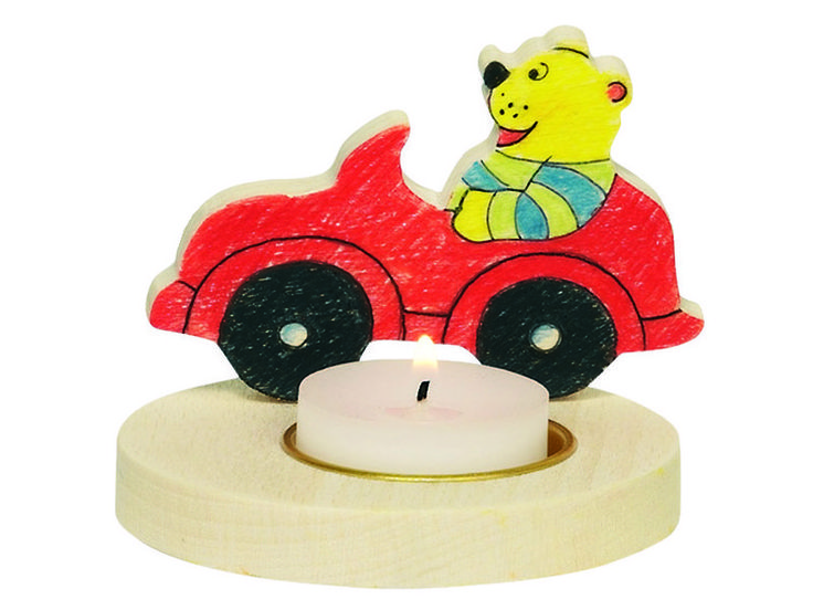 Natural and high quality toys to the development of the skills of children. Wooden candle holder, to be painted, bear in car