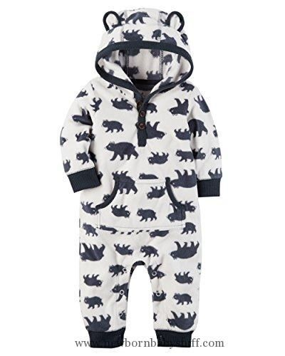 Baby Boy Clothes Carter's Baby Boys Fleece Hooded Romper Jumpsuit, White Bear, 3 Months   https://presentbaby.com