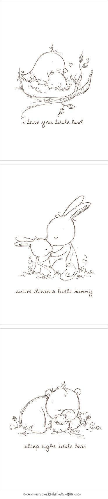 Baby Animal Sketches Great for greeting cards or other creative projects!