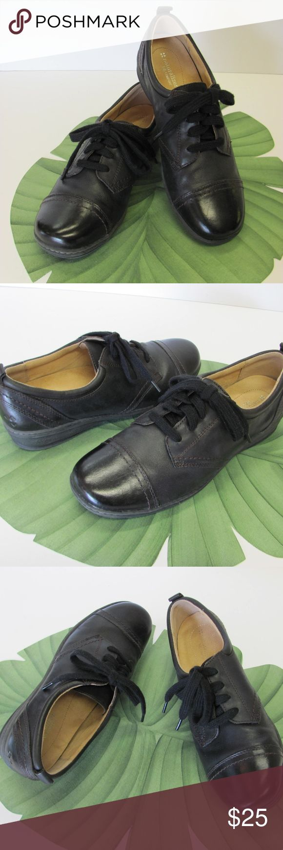 COMFORTABLE LOOKING NATURALIZER BLACK FLATS I usually ship in 24 to 48 hours.  Great Looking lace up Black Leather Shoes.  Designed by Naturalizer.  Padded footbed.  Size 9.50 M.  Hardly Worn.  Very Good Condition. Naturalizer Shoes Flats & Loafers